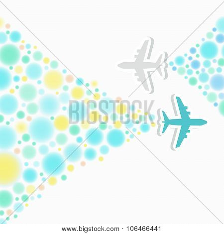 Card With Two Planes And Colored Trace Of Them.