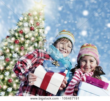 Children Christmas Winter Holidays Celebration Concept