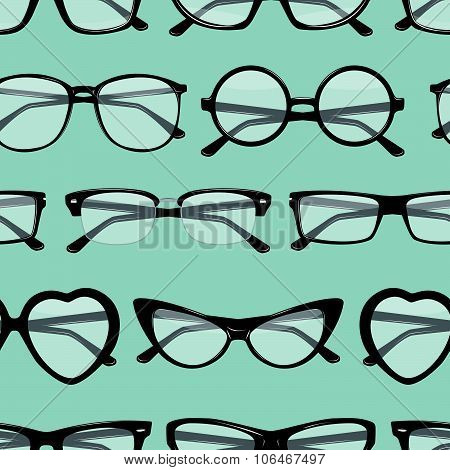 Seamless Pattern With Different Glasses