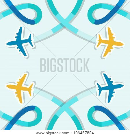 Card With Four Planes And Colored Trace Of Them.