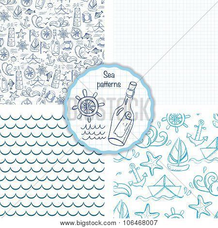 Set Of Four Seamless Patterns With Sea Elements