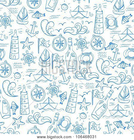Seamless Pattern With Doodle Sea Elements
