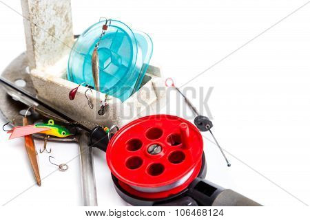 Closeup Ice Fishing Tackles