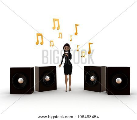 Women Holding Mic At A Music Concert Concept
