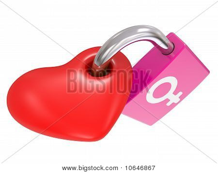 Male And Female Symbols On A Heart Lock