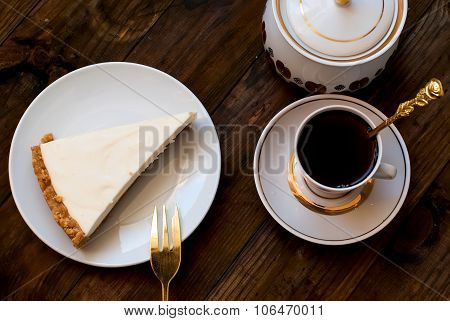 Cheesecake And A Cup Of Coffee, Top View