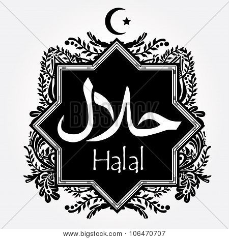 Elegant  Halal product label.