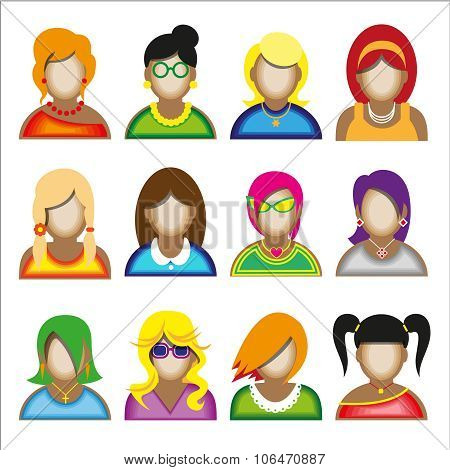 Creative Modern Icons Avatars With Woman Persons.