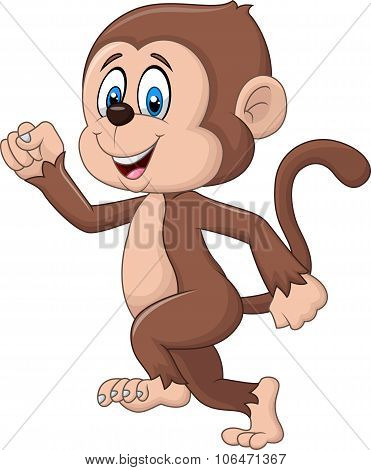 Cartoon funny monkey running isolated on white background