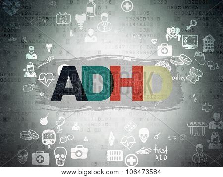 Health concept: ADHD on Digital Paper background