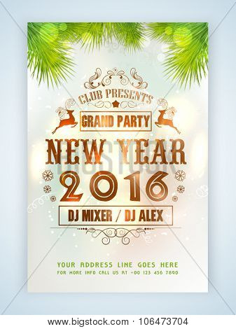 Creative flyer, banner or pamphlet design decorated with Xmas ornaments for Grand Party of Happy New Year 2016 celebration.