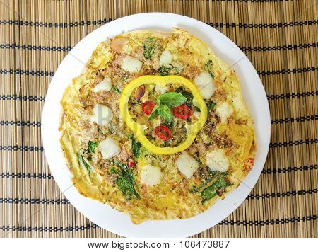 Spinach Chili And Pepper Omelette