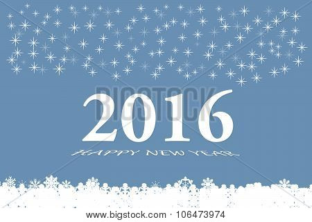 New Year 2016 Vector Card In Blue