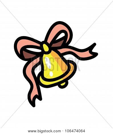Bell with pink ribbon vector