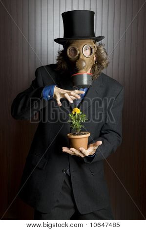 Businessman wearing a gas mask holding a flower