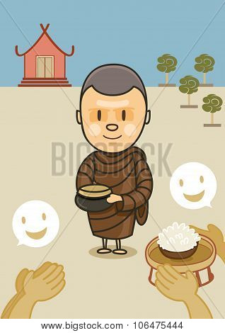 Monk With Bowl Food