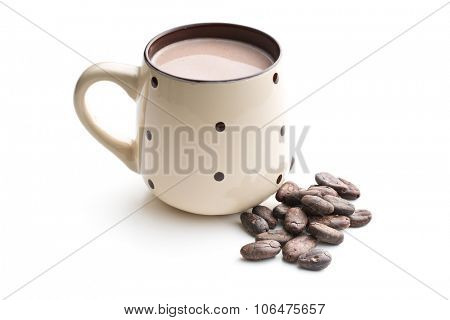 the cocoa drink and cocoa beans on white background
