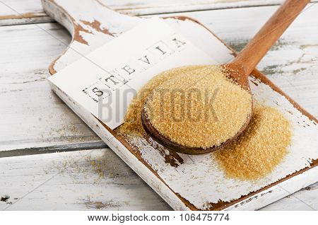 Cane Sugar With Stevia In  Old Spoon.