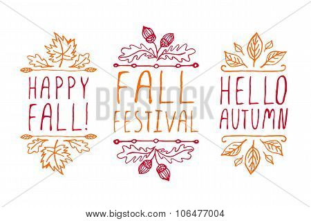 Hand-sketched typographic elements for autumn design