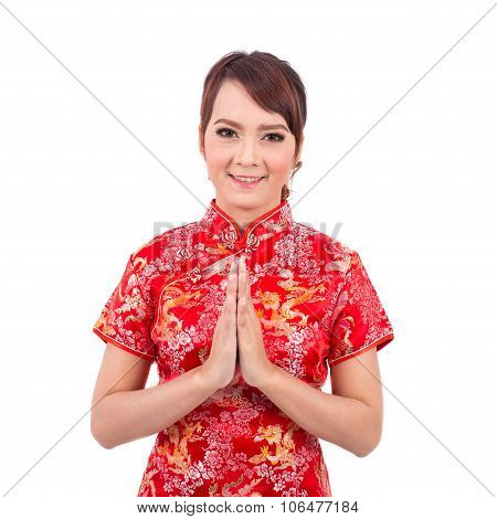 Asian Chinese Girl Greeting In Traditional Chinese, Welcome, Guest