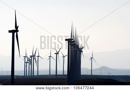 aligned windmills for renowable electric production with white sky, Pozuelo de Aragon, Zaragoza, Aragon, Spain