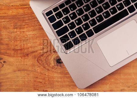 Laptop Computer On Rustic Wooden Office Desk