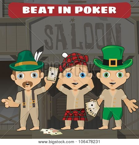 Three cowboys beat in poker in the saloon