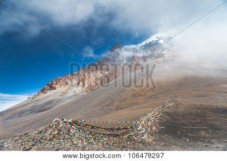 Beautiful cloudy landscape in Himalayas mountains, Annapurna area