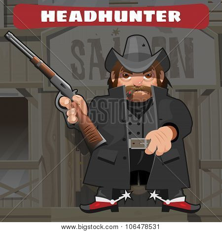 Cartoon character in Wild West - leader with rifle