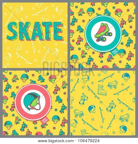 Set Of Four Pictures: Skate Board Typography, Seamless Pattern, Roller Derby Icons. Seamless Pattern