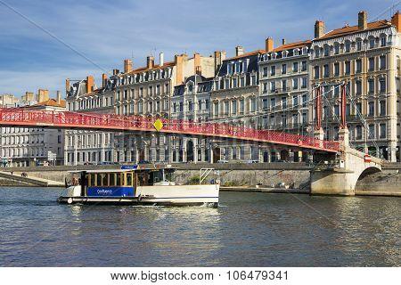 LYON FRANCE OCTOBER 26 - Vaporetto on Saone river in Lyon historic district on October 26 2015 in Lyon France.