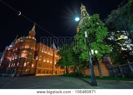 Night View Of Moscow Near The Kremlin