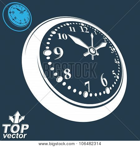 3D Vector Round Wall Clock With Black Dial, Includes Inverse Version. Timer Perspective Symbol. Eleg