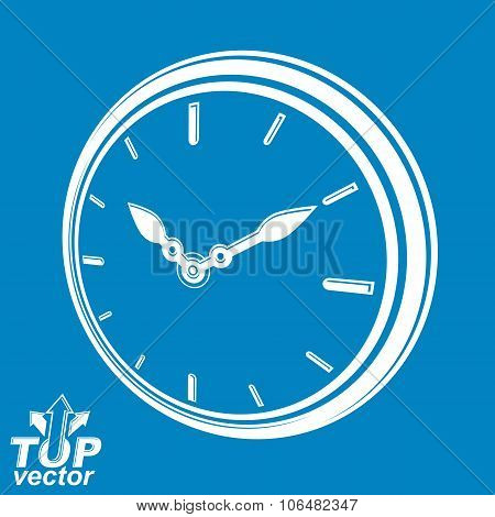 3D Vector Round Stylized Wall Clock, Includes Invert Version. Time Idea Classic Perspective Symbol,