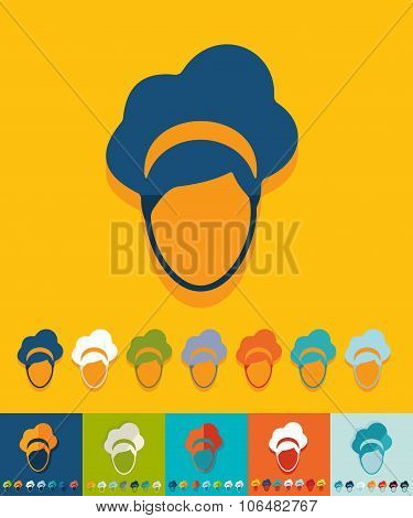 Flat design. hairstyle