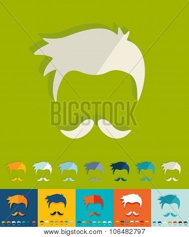 Flat design. hairstyle and mustache