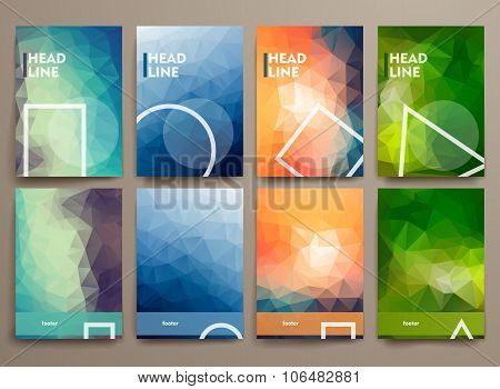 Set of abstract brochures in poligonal style