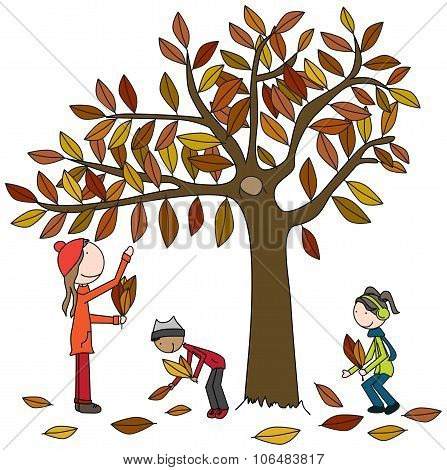 Happy Family Collecting Leaves