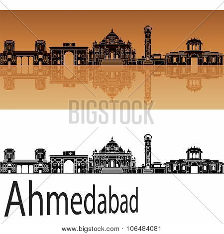 Ahmedabad skyline in orange