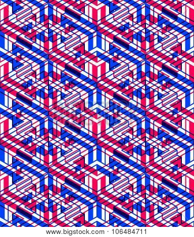 Bright Symmetric Seamless Pattern With Interweave Figures. Continuous Geometric Composition With