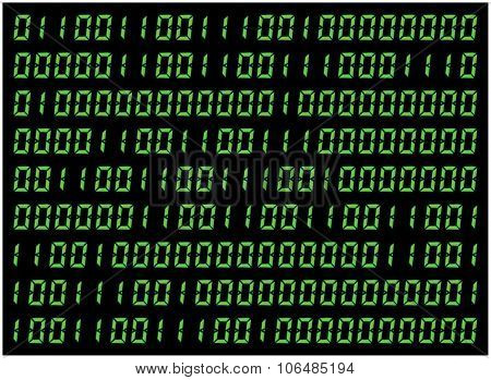 0,1 Digits Vector Wallpaper. Green Binary Code On Black Background. Digital Matrix Abstract Technolo