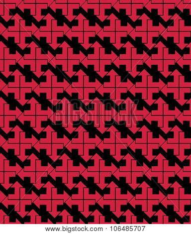 Bright Abstract Seamless Pattern With Red Arrows. Vector backdrop With Arrowheads. Endless