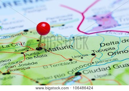 Maturin pinned on a map of America