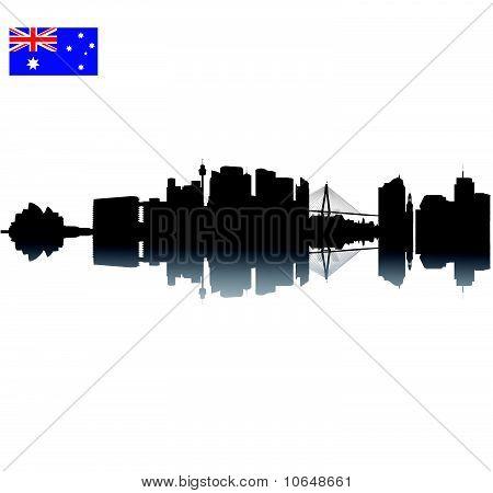 Detailed Black vector Sydney silhouette skyline