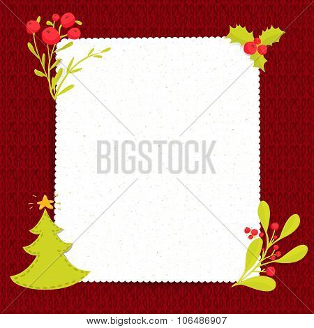 Christmas blank paper on red knitted texture. Vertical vector frame with copyspace decorated with ch