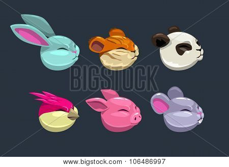 Cartoon round animal faces