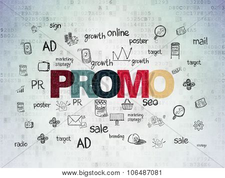 Advertising concept: Promo on Digital Paper background