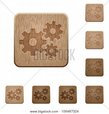 Gears Wooden Buttons