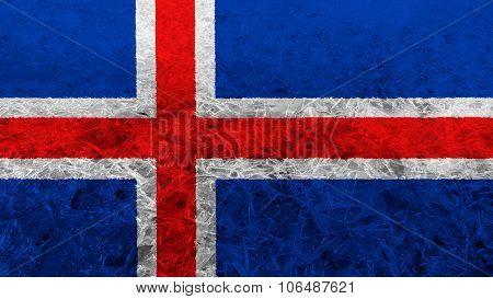 Flag of Iceland, Icelandic flag painted on ice texture