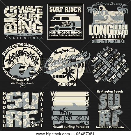 Surfing t-shirt graphic set
